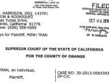 Toà án Tối cao California tuyên án hai ông Liên Thành và Dương Đại Hải đã ác tâm vu cáo ông Trần Đình Minh là gián điệp Cộng sản, tiền phạt bồi thường là Hai trăm nghìn Mỹ kim
