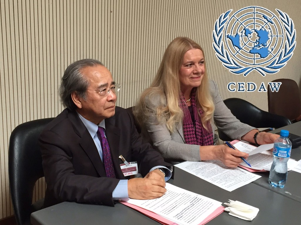 VCHR President Vo Van Ai and VCHR Vice-President Penelope Faulkner brief the UN CEDAW experts