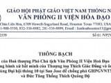 Thông bạch của Hoà thượng Thích Huyền Việt, Phó Chủ tịch Văn Phòng II Viện Hoá Đạo, về những hành xử bất minh của TT. Thích Giác Đẳng và âm mưu dùng Đại hội tháng 10 tại San Jose để chống phá GHPGVNTN và Đức Tăng Thống Thích Quảng Độ