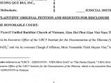 Đài Truyền hình quốc gia Hoa Kỳ FOX loan tin cuộc tố tụng việc tiếm danh GHPGVNTN và bán lén chùa Phật Quang của Sư Giác Đẳng và Luật sư Steven Điêu — Đơn kiện số 2015-63668 : 234 đã nộp lên Toà án Quận Harris, tiểu bang Texas, hôm thứ sáu 23-10-2015