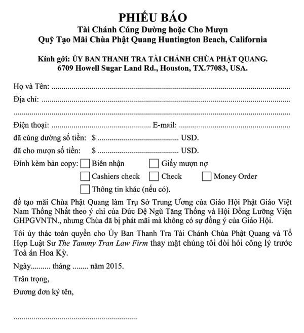Xin cung cấp danh tánh và số tiền đã hỷ cúng hay cho mượn nhằm tạo mãi chùa Phật Quang về Văn phòng Luật sư The Tammy Tran Law Firm để thiết lập hồ sơ hoàn trả