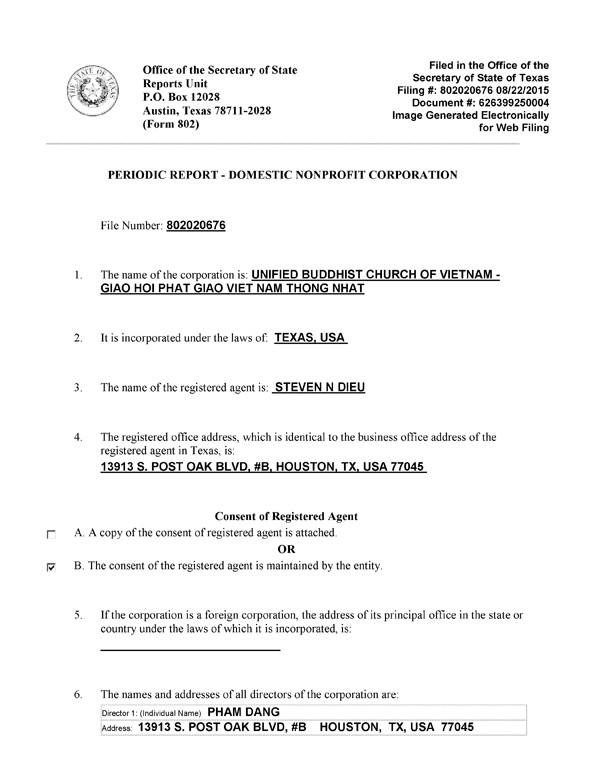 Đưa 9 người bất hợp lệ vào Hội đồng Quản trị VP II VHĐ/GHPGVNTN-UBCV ngày 22-8-2015 (1/2)