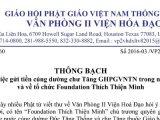 Thông bạch của Hòa thượng Thích Huyền Việt về việc gửi tiền cúng dường chư Tăng GHPGVNTN trong nước, và về tổ chức Foundation Thích Thiện Minh