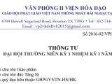 Thông tư của Gíao hội Phật giáo Việt Nam Thống nhất Hải ngoại tại Hoa Kỳ về Đại hội Thường niên kỳ 1 nhiệm kỳ I trong ba ngày 7, 8, 9 tháng10 năm 2016 tại Chùa Liên Hoa, Houston, Texas 77083, Hoa Kỳ — Thư thỉnh mời tham dự — Chương trình và Mẫu ghi danh tham dự
