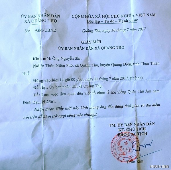 "Summons issued to a BYM leader by the local People's Committee for ""working sessions on the organization of festivities concerning the Goddess of Compassion Quán Thế Âm"""