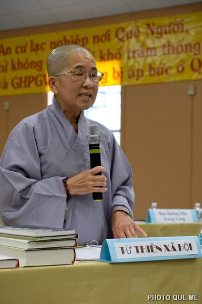 Đh. Phổ Chiếu báo cáo Phật sự Tổng vụ Từ Thiện Xã hội