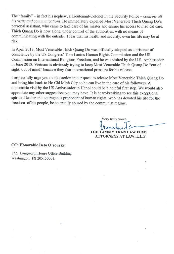 Letter to US Congresswoman Sheila Jackson Lee from the Tammy Tran Law Firm requesting urgent support for UBCV Patriarch Thich Quang Do 2
