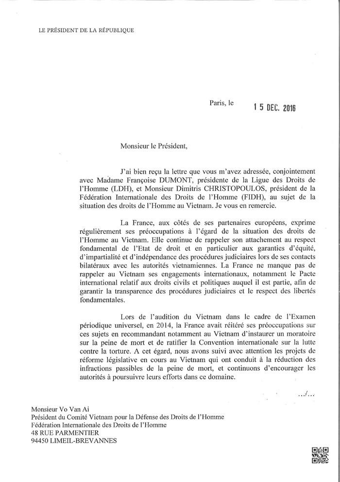 Lettre du Président Françoise Hollande à Vo Van Ai 1/2