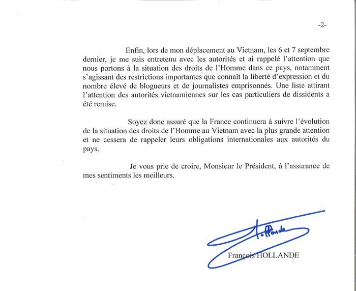 Lettre du Président Françoise Hollande à Vo Van Ai 2/2