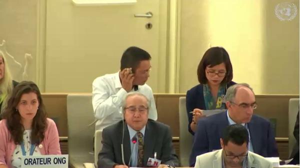 Ông Võ Văn Ái phát biểu tại LHQ ngày 4-7-2019, hàng ngồi trước, người thứ hai từ trái qua phải.